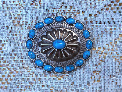 Western Equestrian Tack Oval Antique Silver Faux Turquoise Concho's Set of 6