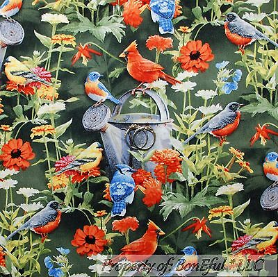 BonEful Fabric FQ Cotton Quilt Green Red Cardinal Bird Robin Flower Blue Jay VTG