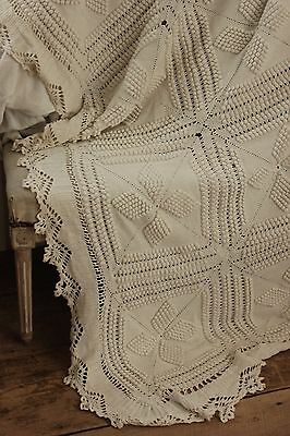 Vintage French hand-made coverlet crochet LARGE 93X88 queen  white cotton lace