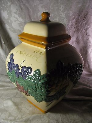 Ceramic Handmade for Nonni's Wine Motif Grapes Biscotti Cookie Jar