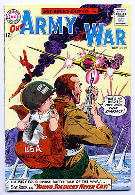 "OUR ARMY AT WAR #132 VG, Sgt. Rock's Easy Co., 1/2"" spine split, DC Comics 1963"