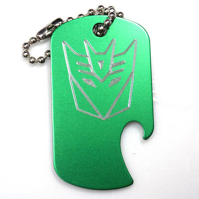 "Decepticon Green Key Chain With 4"" Chain Dog Tag Aluminum Bottle Opener EDG-0337"