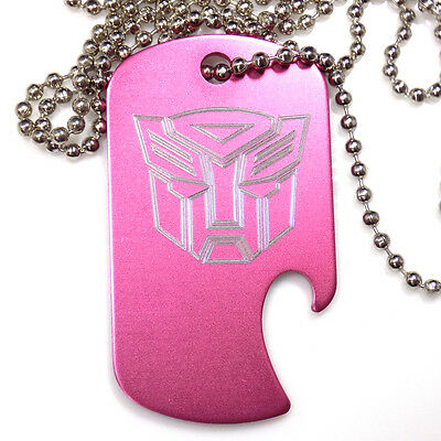 "Autobot Baby Pink Pendant With 30"" Chain Dog Tag Aluminum Bottle Opener EDG-0314"