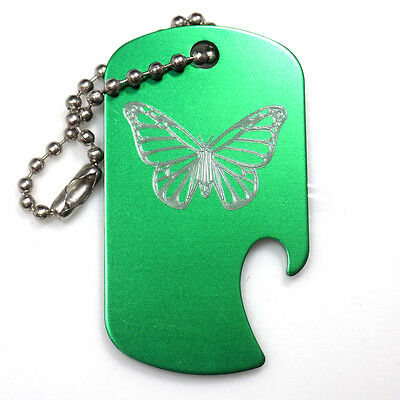 "Butterfly Green Key Chain With 4"" Chain Dog Tag Aluminum Bottle Opener EDG-0305"