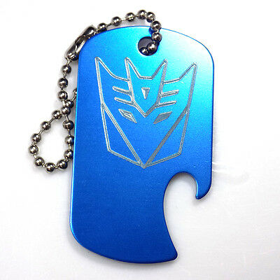 "Decepticon Blue Key Chain With 4"" Chain Dog Tag Aluminum Bottle Opener EDG-0333"