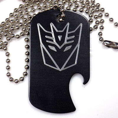 "Decepticon Black Pendant With 30"" Chain Dog Tag Aluminum Bottle Opener EDG-0340"