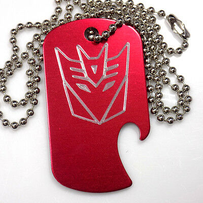 "Decepticon Red Pendant With 30"" Chain Dog Tag Aluminum Bottle Opener EDG-0332"