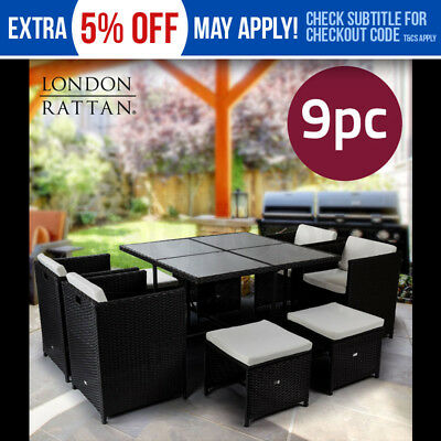 LONDON RATTAN Wicker 9 Piece Outdoor Dining Furniture Set - Table and Chairs