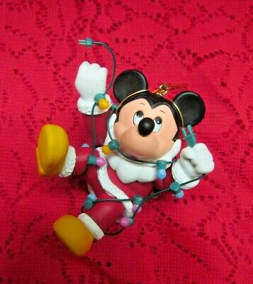 ADORABLE 1990's  DISNEY GROLIER DCO ORNAMENT MICKEY MOUSE W/ CHRISTMAS LIGHTS!