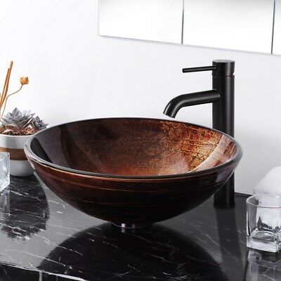 "Bathroom Tempered Glass Vessel Sink Pop Up Drain 12"" Faucet Combo Set Home Hotel"