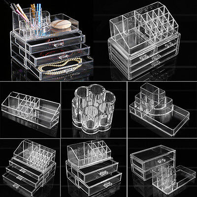 Acrylic Makeup Cosmetic Holder Jewellery Case Storage Organizer Box Drawers Au