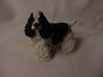 BLACK & WHITE COCKER SPANIEL FIGURINE dog HAND PAINTED Statue puppy COLLECTIBLE