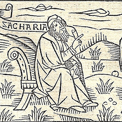 1515 - PROPHETS HAGGAI & ZACHARIAH - post-incunable leaf w/ 2 small woodcuts
