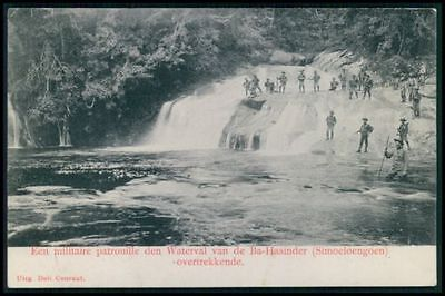 Indonesia Sumatra KNIL Holland Soldiers at the Waterfall original 1907 postcard