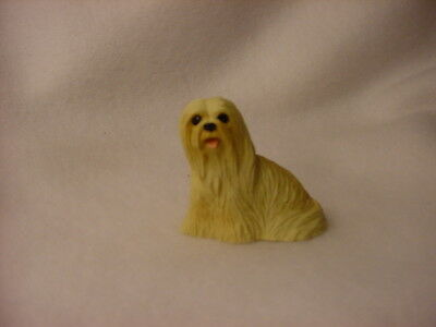 LHASA APSO blond puppy TiNY FIGURINE Dog HANDPAINTED MINIATURE Mini Resin Statue