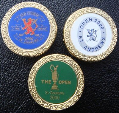 3 x Collectable Metal Golf Ball Markers Millennium St.Andrews British Open