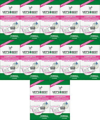 Vet's Best Comfort-Fit Disposable Female Diapers XS 144pk (12x12pk)