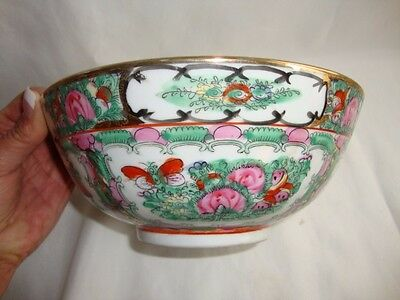 Export  Rose Medallion Porcelain Bowl Birds Butterflies-Gumps Hong Kong