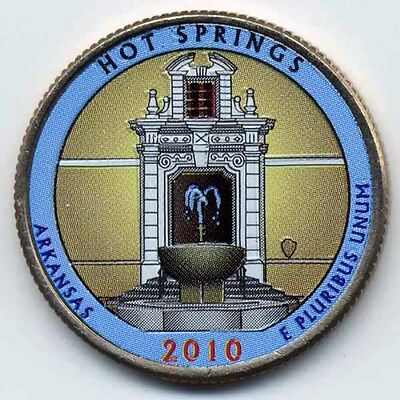 2010 Hot Springs Colorized America's Beautiful National Parks Quarter (P)