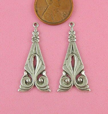 ANT SILVER NOUVEAU EARRING FINDINGS-2 PC(s)