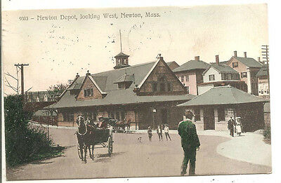 WEST NEWTON, MA - Railroad Station Entrance, Horse/Buggy, view from street