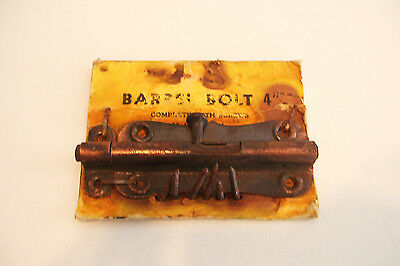 Copper Wash Barrel Bolt Latch Lock 4 Inches Long with Screws - Vintage