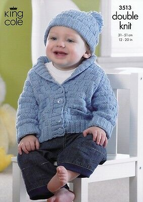King Cole Baby Jacket, Hat & Blanket Cottonsoft Knitting Pattern 3513  DK...