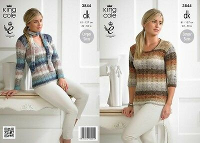 King Cole Ladies Sweaters & Scarves Shine Knitting Pattern 3844  DK (KCP-...