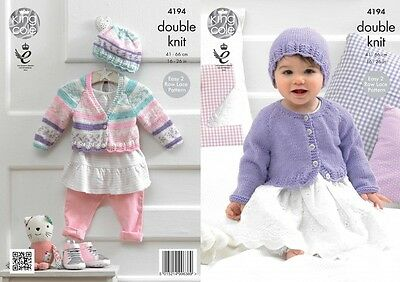 King Cole Baby Cardigans & Hat Cherish Knitting Pattern 4194  DK (KCP-4194)