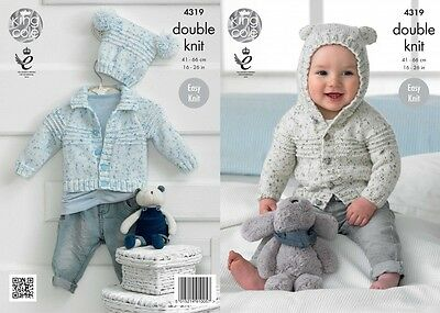 King Cole Baby Cardigans & Hat Smarty Baby Knitting Pattern 4319  DK (KCP...