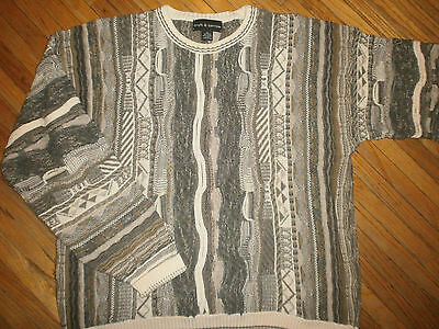 vtg CROFT & BARROW COSBY SWEATER Geometric Knit Party Ugly 80s 90s Hip Hop XLT