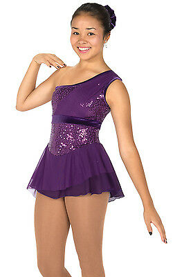 NEW COMPETITION FIGURE SKATING DRESS Jerrys Swags & Sequins Purple AM Medium