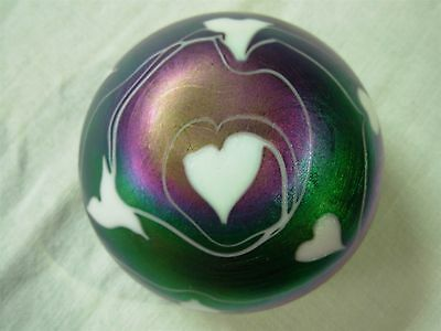 Beautiful Vintage Iridescent Art Glass Pulled Feather Paperweight ~ So Pretty!