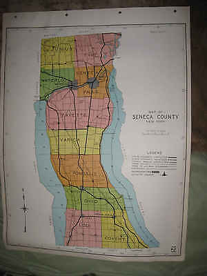 Antique 1941 Seneca County New York Map Falls Waterloo Lodi Ovid Romulus Covert