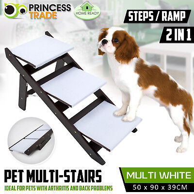 Foldable Pet Dog 3 Steps / Ramp Portable Multi Stairs Ladder Washable Cover Cat