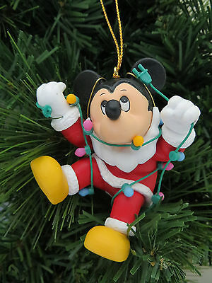 Disney Mickey Mouse Tangled in Lights Christmas Tree Ornament Grolier 001905 MIB