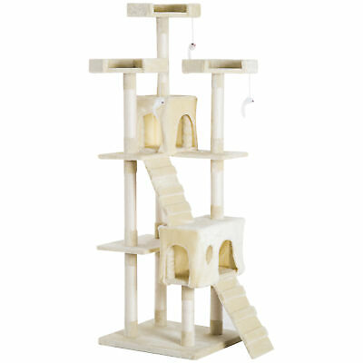 Pawhut Deluxe Cat Tree Condo Tower Scratching Post Scratcher Play House Toy 181c