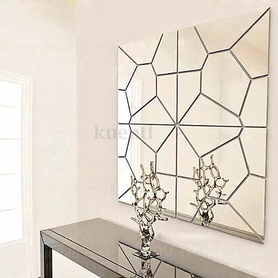 7X Sticker Autocollant Miroir DIY 3D Mural Adhésif Art Decoration Salon Chambre