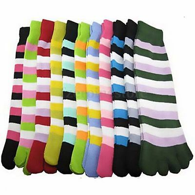6 Pairs Cotton Women Girl Striped Five Fingers Toe Ankle Socks Mixed Yoga Gym