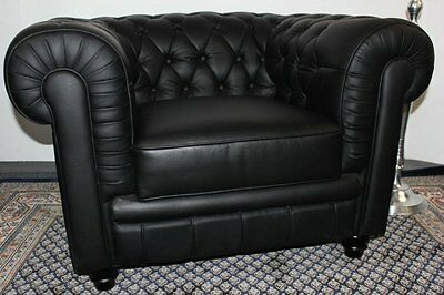 sessel sofa couch chesterfield design 1 sitzer modell ys 2008 schwarz leder chf. Black Bedroom Furniture Sets. Home Design Ideas