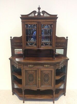 Victorian Rosewood Credenza Empire Display Sideboard Breakfront Top Quality