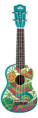 Luna AR2 UKE Peace Soprano Kid's Child's Ukelele w/ Free Gig Bag