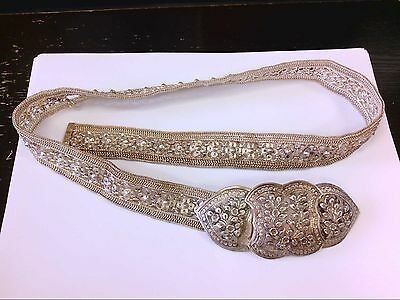 Unbelievable Vintage Solid Silver Hand Made  Belt. MUST SEE!! ONE OF A KIND!!