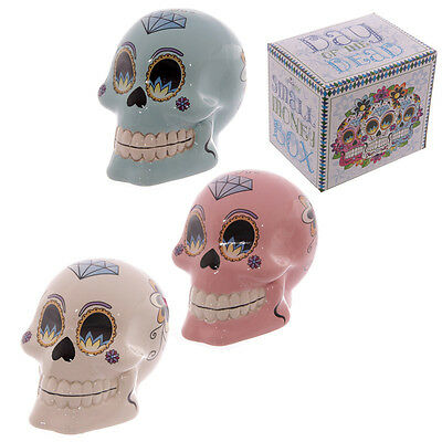 Day of the Dead Mexican Floral Skull Money Box Gothic Resin Ornament 10cm