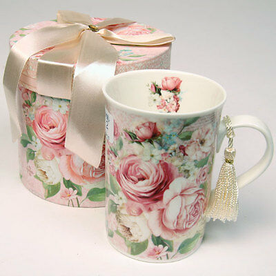 Bone China ~ Vintage Rose ~  Coffee Tea Mug Cup With Tassel ~ Gift Boxed ~