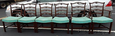 6 Beacon Hill Chippendale Solid Mahogany Ladderback Dining Chairs Holbeck Style
