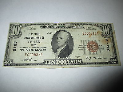 $10 1929 Traer Iowa IA National Currency Bank Note Bill!  Ch. #5135 Fine!