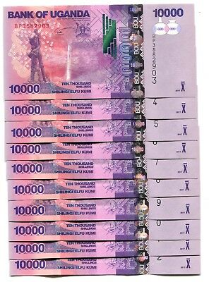 UGANDA 10000 SHILLINGS 2017 P-52e UNC LOT 10 PCS