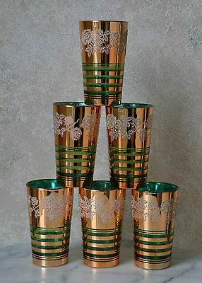 set of 6 VINTAGE WATER JUICE GLASSES GOLD EMERALD GREEN Etched Glass, Italy