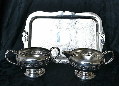 VTG VIKING PLATE 3 Pc. Silverplated on copper Set: Tray,  Sugar, Cream